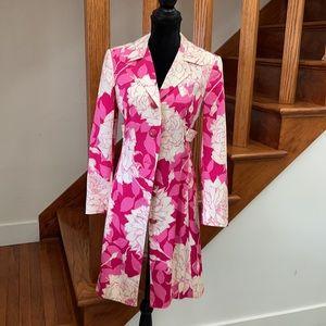 Trina Turk Pink/White Botanical Coat, Spring Coat